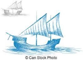 vector illustration of sketch of old sailing ship at sea waves