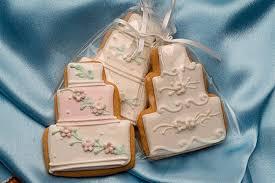 wedding cake cookies custom design wedding cake cookie in wrap with ribbon