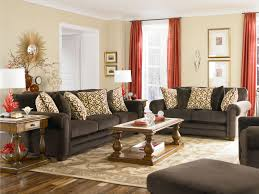 plain decoration curtains for living room with brown furniture