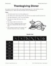thanksgiving dinner printable math activity grades 3 4 5
