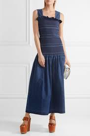 stella mccartney ruffled smocked denim maxi dress blue women