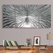 amazon com silver metal wall art abstract etched pattern