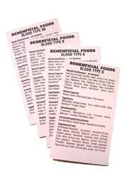 blood type beneficial food cards blood type diet food list