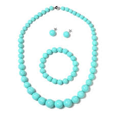 turquoise coloured necklace images Turquoise colour shell pearl rnd graduated necklace size 20 jpg