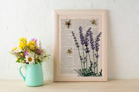 christmas gift wall art home decor bees with lavender flowers