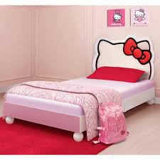 white wooden twin bed frame with hello kitty shaped headboard and