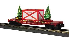mth trains 30 76672 red christmas car w lighted tree