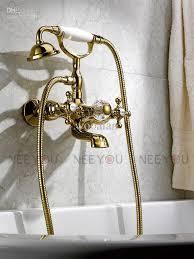 2017 classical dual handles tub and shower faucet titanium gold