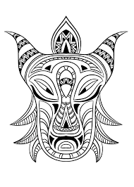 free coloring page coloring 12 african masks twelve simple