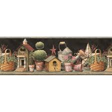 black background halloween toll tray york wallcoverings bistro 750 bird on a wire wallpaper border