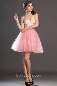 pretty pink strapless sweetheart short cocktail evening dress