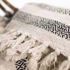 plaid coton canapé plaid jeté de canapé en coton à motifs graphiques noir et blanc