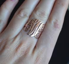monogram ring silver 14k 18 k solid gold monogram ring personalized ring