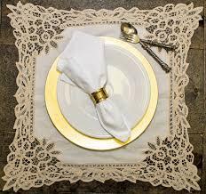 Table Setting Chargers - vintage elegance cream battenberg napkin 2 05 white hemstitch