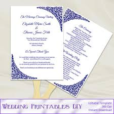 paddle fan program template coral gold wedding program fan template diy floral ceremony