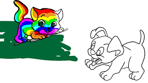how to draw cat and dog in rainbow colors i coloring pages for