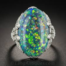 black opal black opal and platinum diamond art deco ring by brock u0026 co