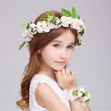 flower girl hair accessories bohemia flower girl sea wreath headdress with bracelet