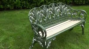 antique coalbrookdale lilly of the valley cast iron garden bench