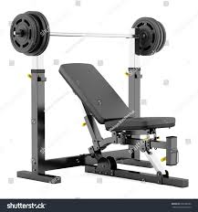 gym adjustable weight bench barbell isolated stock illustration
