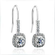 white gold dangle earrings s925 jewerly 1ct cushion cut synthetic diamonds dangle