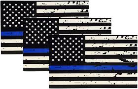 Free American Flag Stickers 3 Pack Of Tattered Blue Line Flag Thin Blue Line Decals Black White
