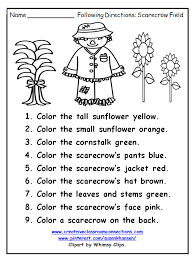 free following directions worksheet features a fall scarecrow and