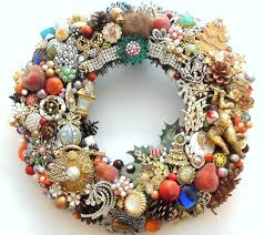 vintage jewelry holiday wreath loaded with vintage jewelry