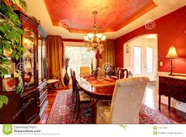 Luxury Dining Rooms by Luxury Dining Room In Bright Red Colors Stock Photo Image 43517978