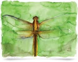 dragonfly watercolor sketch heron dance poster print