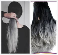 black grey hair black grey syntheic ombre straight curly wavy clip in hair