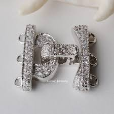 sterling silver necklace clasp images Solid 925 sterling silver clasp cz mounted 3 strand rhodium plated jpg