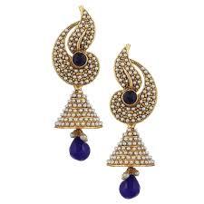 jhumka earrings online shopping buy girl kundans jhumki blue metal alloy jhumka earrings