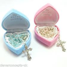 baby rosary new baby boy girl child glass my rosary pink blue