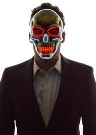 glowing skull face mask neon nightlife