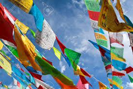 Tibetan Flags Buddhist Tibetan Prayer Flags Flying With Blue Sky Stock Photo