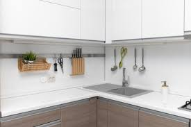 photos of kitchen interior white glossy kitchen interior design with hanging utensils buy