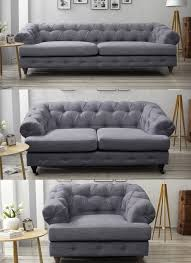 Sofa Chesterfield Oxford Chesterfield Grey Sofa 3 2 1 Seater Fabric Linen