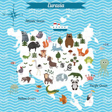 Eurasia Map Cartoon Map Of Eurasia Continent With Different Animals Stock