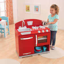 Kidkraft Urban Espresso Kitchen - kidkraft red retro vintage kitchen stove u0026 oven kids wooden play