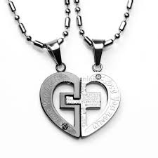 her necklace images Couple his and her necklaces stainless steel cross heart love jpg