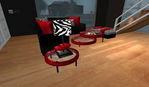 zebra living room set second life marketplace modern red black and zebra print living