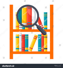 library science concept bookshelves magnifying glass stock vector