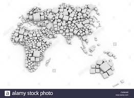 Europe Asia Map 3d Map Of Europe Asia And Oceania Made Out Of Blocks Made Out Of