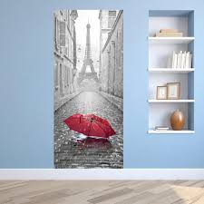 Eiffel Tower Wall Decals 3d 77x200cm Rain Eiffel Tower Landscape Pattern Wall Sticker