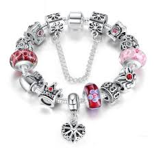 silver jewelry charm bracelet images Silver charms bracelet bangles with queen crown beads bracelet jpg
