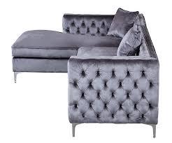 Sectional Sofa Amazon Com Iconic Home Da Vinci Tufted Silver Trim Grey Velvet