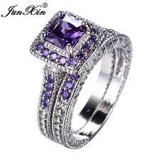 bridal rings images Junxin elegant purple ring set white gold filled wedding jpg