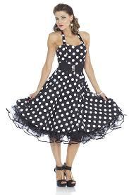 50s vintage rockabilly tea party dress halter black white polka