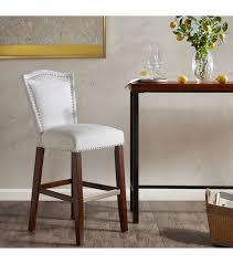 dark oak bar stools grey silver fabric dark wood bar stool silver nailhead trim